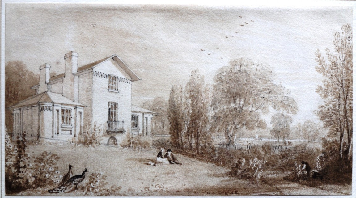 W. Havell c. 1814 pencil and brown wash Sandycombe Lodge